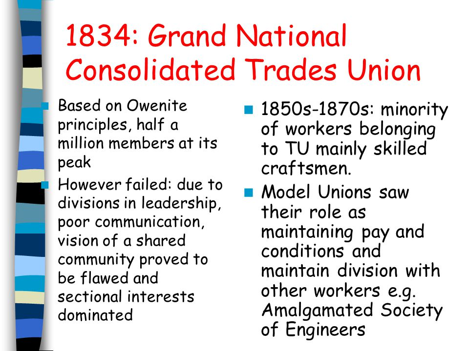 5 of these Model Unions leaders met regularly and formed the 'junta' 1867 Royal Commission of inquiry into Trade Unions: followed outbreak of violence during a strike in Sheffield, Junta gave evidence 1868 First Trade Union Congress: Junta did not attend 1871: trade Unions Act: given status in law and funds protected from dishonest officials