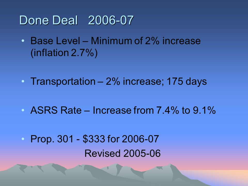 Done Deal 2006-07 Base Level – Minimum of 2% increase (inflation 2.7%) Transportation – 2% increase; 175 days ASRS Rate – Increase from 7.4% to 9.1% Prop.