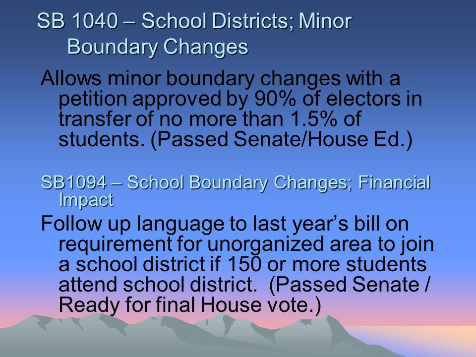 SB1205 – Schools; Transportation RCL Freezes TRCL at 120% of TSL.