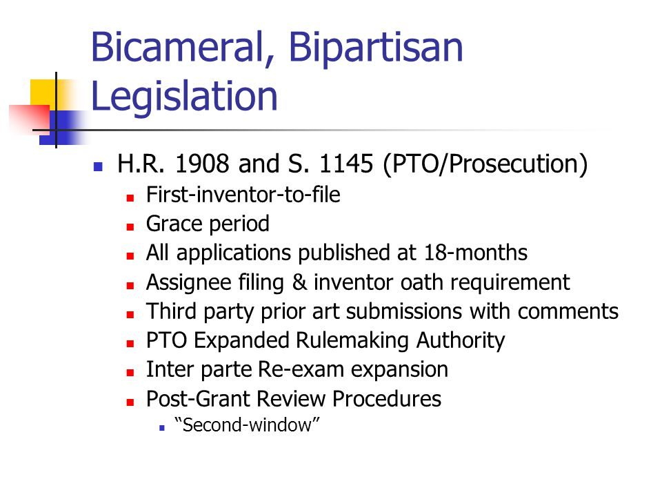 Bicameral, Bipartisan Legislation H.R. 1908 and S.