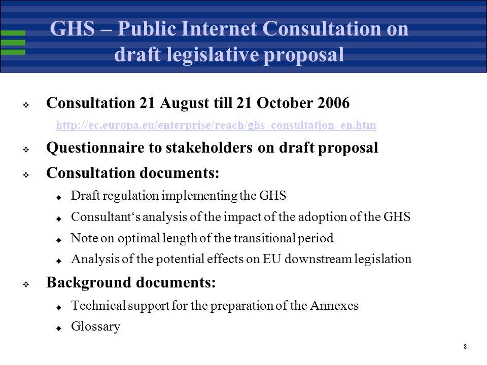 8. GHS – Public Internet Consultation on draft legislative proposal  Consultation 21 August till 21 October 2006 http://ec.europa.eu/enterprise/reach