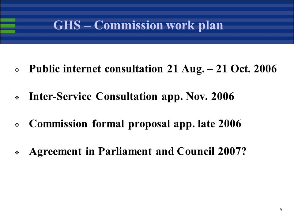 9. GHS – Commission work plan  Public internet consultation 21 Aug.