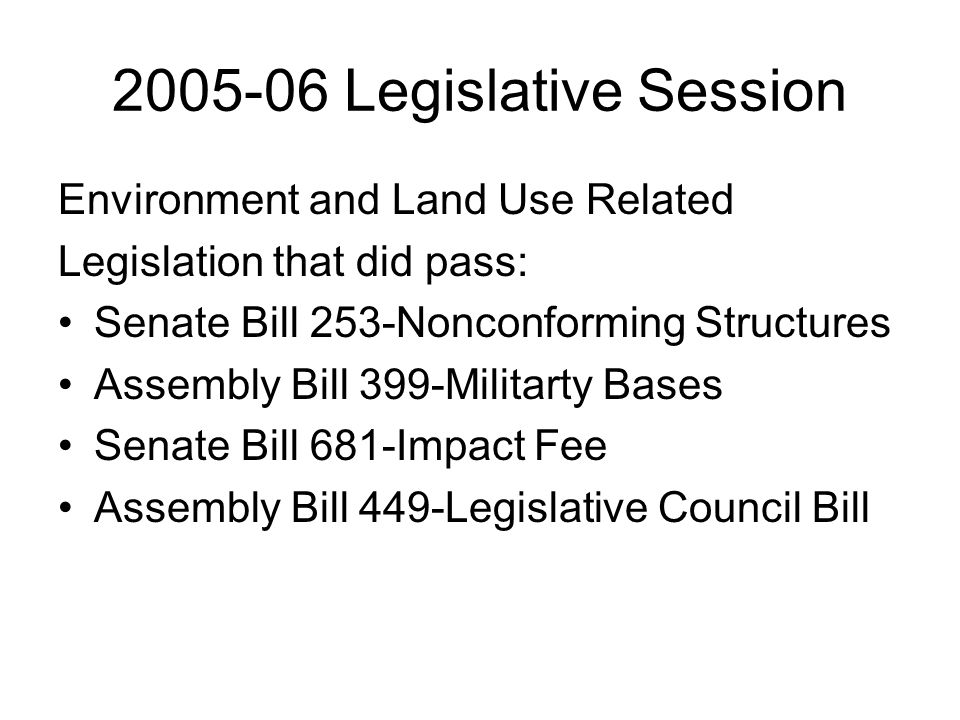 2005-06 Legislative Session Other County Related Bills that passed: Senate Bill 4-county board size Senate Bill 331-repeal of gas tax indexing Assembly Bill 296-liability shield Assembly Bill 211-fines and forfeitures