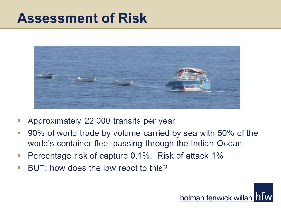 Assessment of Risk  Approximately 22,000 transits per year  90% of world trade by volume carried by sea with 50% of the world s container fleet passing through the Indian Ocean  Percentage risk of capture 0.1%.