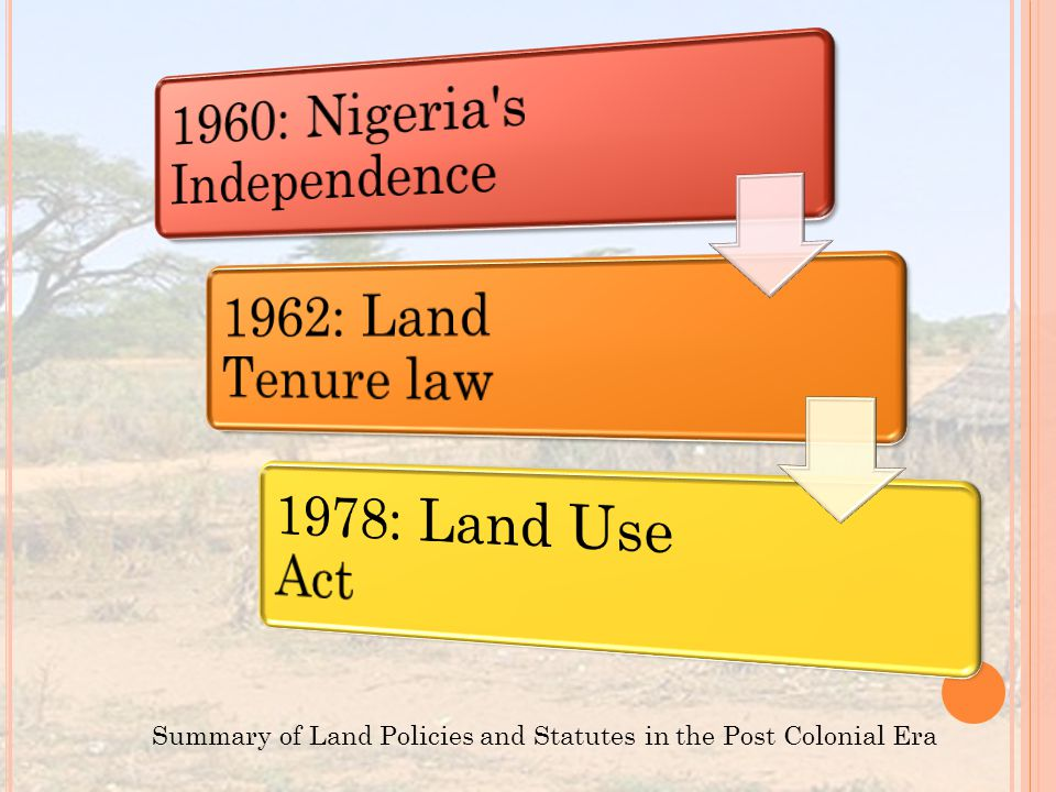 Summary of Land Policies and Statutes in the Post Colonial Era