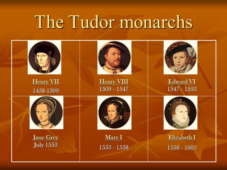 The Tudor monarchs Henry VII Henry VII 1458-1509 Henry VIII Henry VIII 1509 - 1547 Henry VIII Edward VI Edward VI 1547 - 1553 Edward VI Jane Grey Jane Grey July 1553 Jane Grey Mary I Mary I 1553 - 1558 Mary I Elizabeth I Elizabeth I 1558 - 1603 Elizabeth I