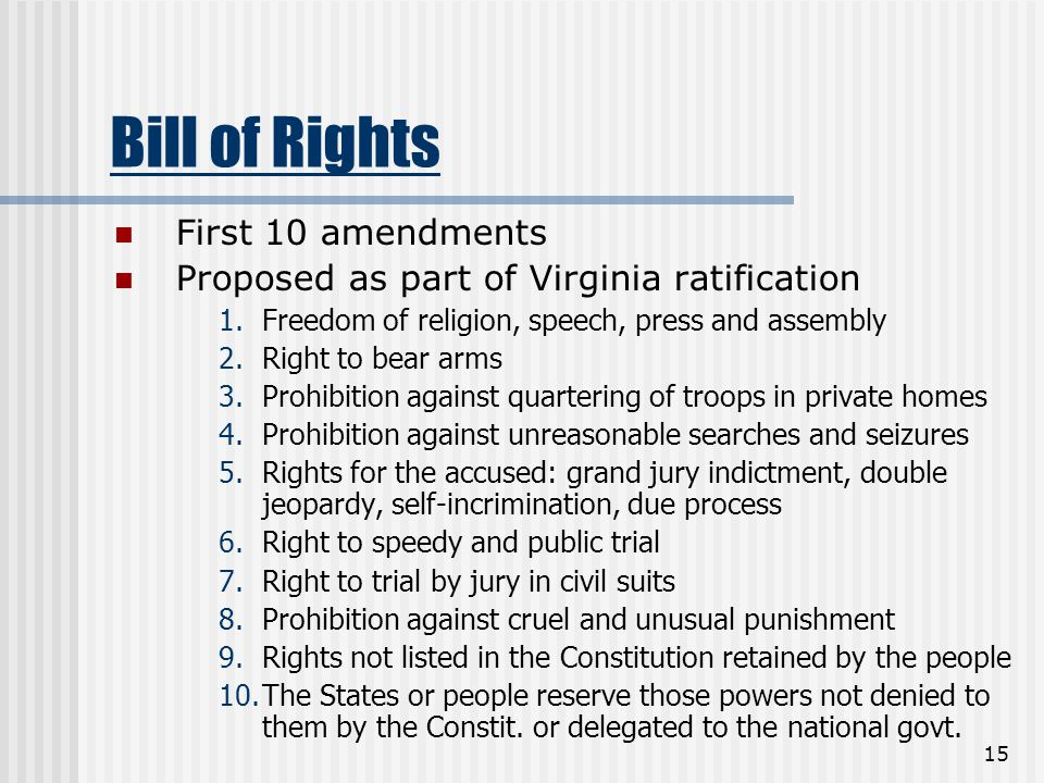 15 Bill of Rights First 10 amendments Proposed as part of Virginia ratification 1.Freedom of religion, speech, press and assembly 2.Right to bear arms