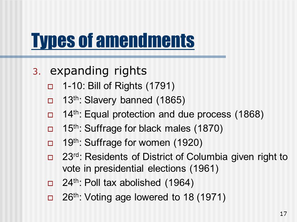 17 Types of amendments 3. expanding rights  1-10: Bill of Rights (1791)  13 th : Slavery banned (1865)  14 th : Equal protection and due process (1