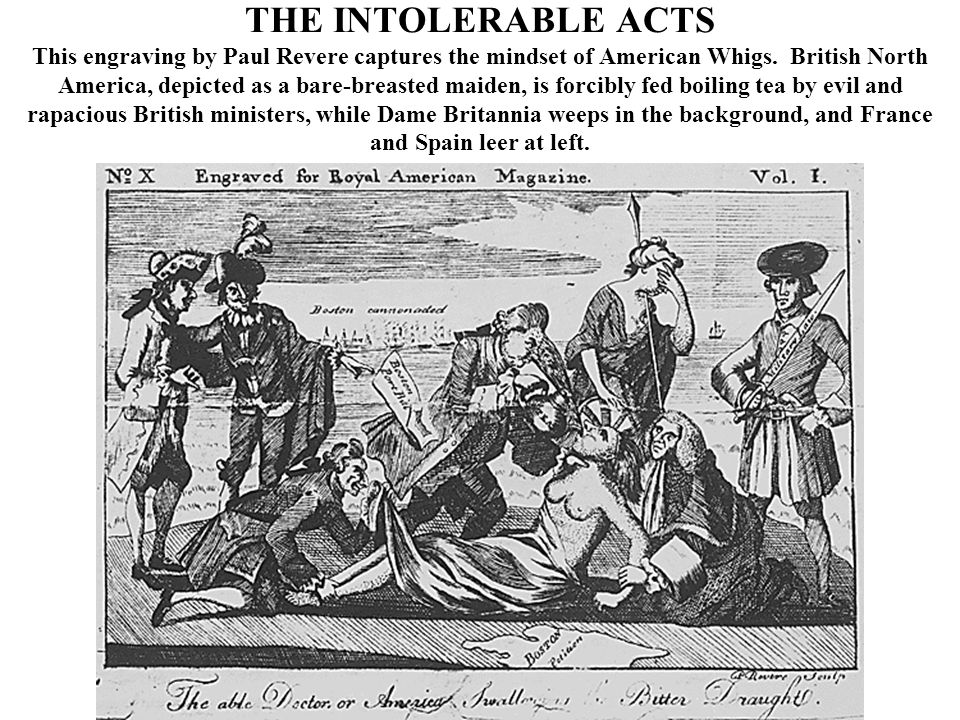 THE INTOLERABLE ACTS This engraving by Paul Revere captures the mindset of American Whigs.