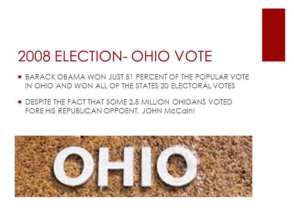 2008 ELECTION- OHIO VOTE  BARACK OBAMA WON JUST 51 PERCENT OF THE POPULAR VOTE IN OHIO AND WON ALL OF THE STATES 20 ELECTORAL VOTES  DESPITE THE FACT THAT SOME 2.5 MILLION OHIOANS VOTED FORE HIS REPUBLICAN OPPOENT, JOHN McCain!
