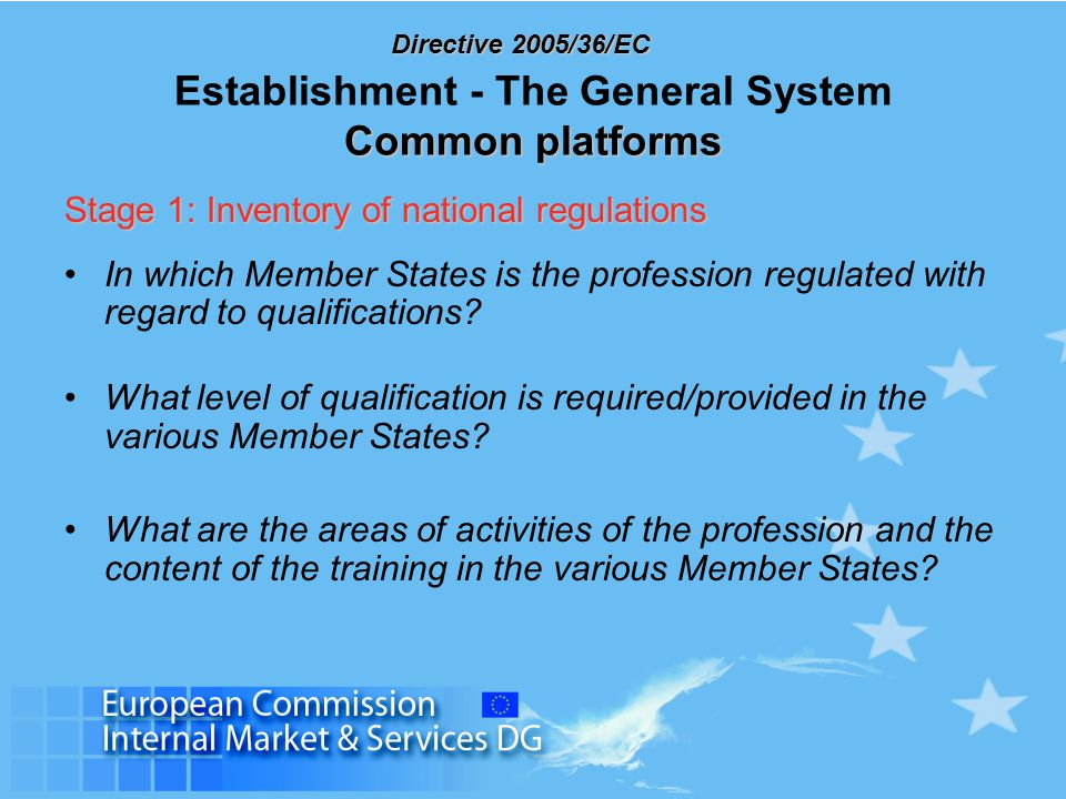 Directive 2005/36/EC Common platforms Establishment - The General System Common platforms Stage 1: Inventory of national regulations In which Member S