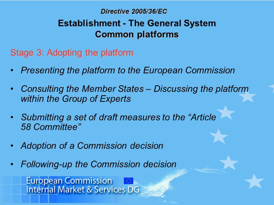 Directive 2005/36/EC Common platforms Establishment - The General System Common platforms Stage 3: Adopting the platform Presenting the platform to th