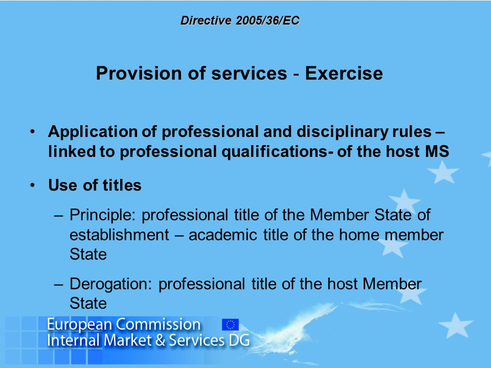 Directive 2005/36/EC Implementation Competent authorities Administrative co-operation, exchange of information Contact points Committee on the recognition of professional qualifications Consultation with professional associations