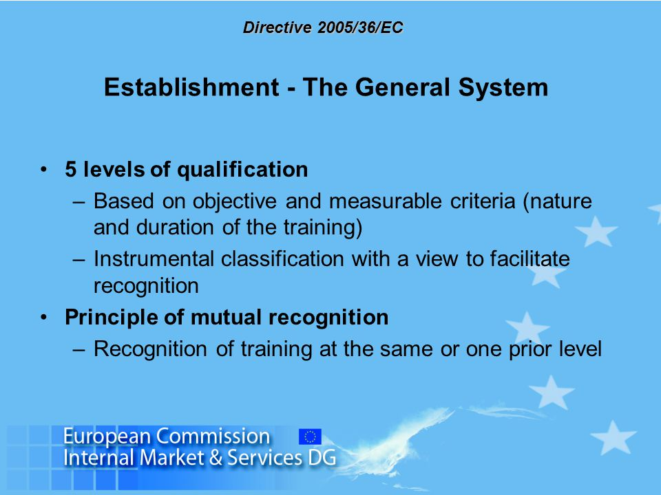 Directive 2005/36/EC Establishment - The General System 5 levels of qualification –Based on objective and measurable criteria (nature and duration of