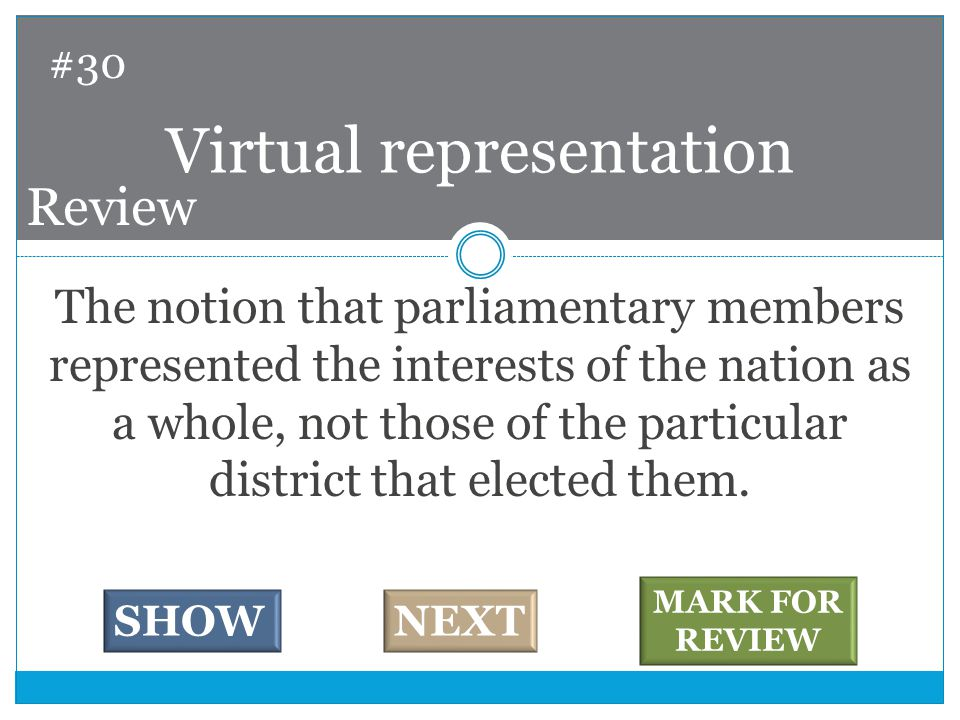 The notion that parliamentary members represented the interests of the nation as a whole, not those of the particular district that elected them.