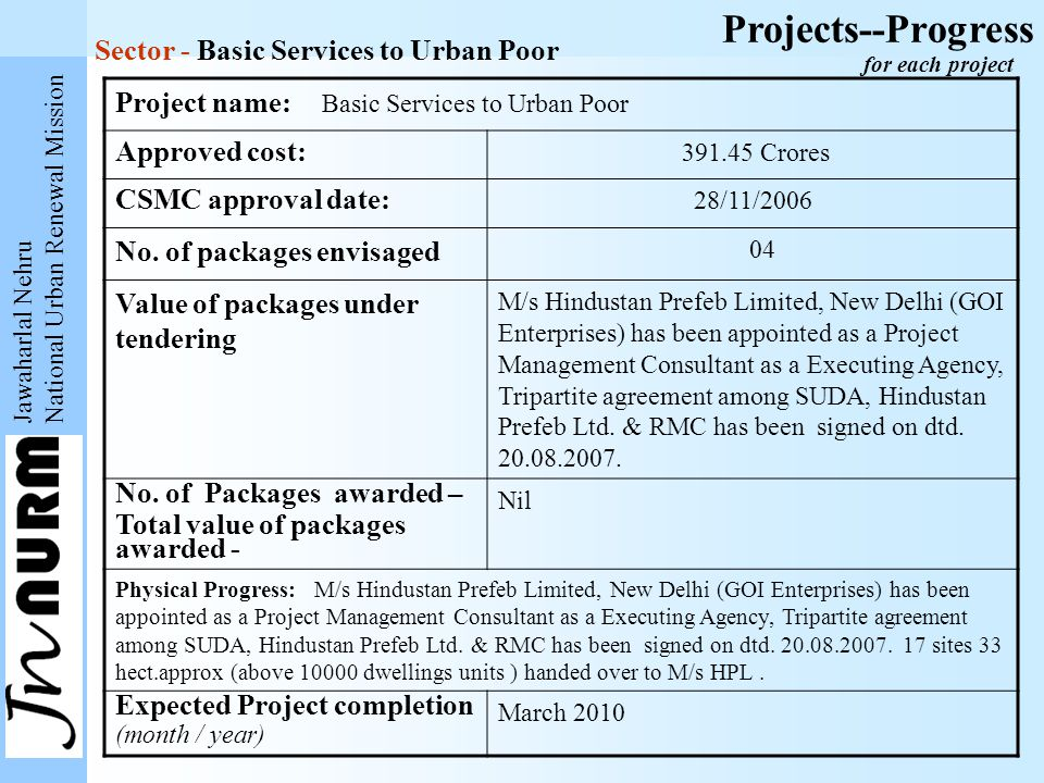 Jawaharlal Nehru National Urban Renewal Mission Projects--Progress Project name: Basic Services to Urban Poor Approved cost: 391.45 Crores CSMC approval date: 28/11/2006 No.