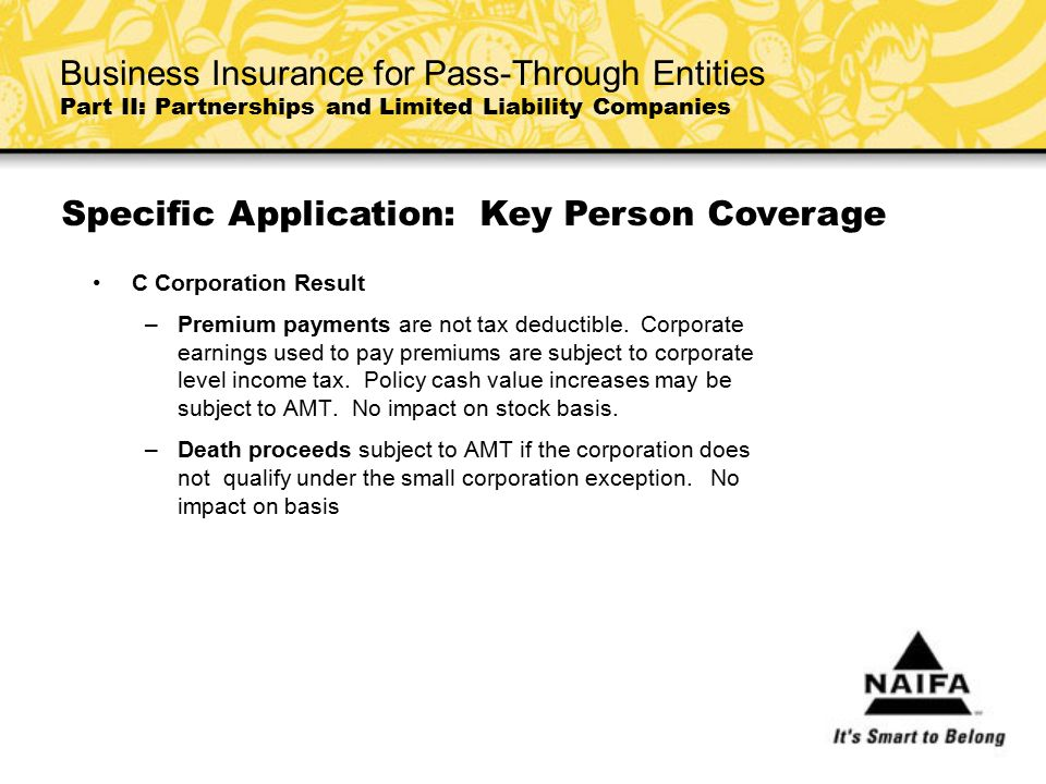 C Corporation Result –Premium payments are not tax deductible. Corporate earnings used to pay premiums are subject to corporate level income tax. Poli