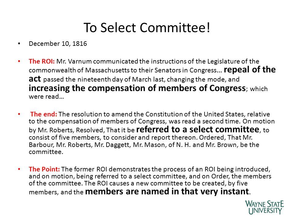To Select Committee! December 10, 1816 The ROI: Mr. Varnum communicated the instructions of the Legislature of the commonwealth of Massachusetts to th