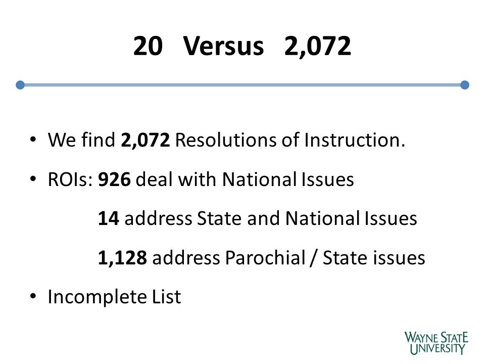20 Versus 2,072 We find 2,072 Resolutions of Instruction.