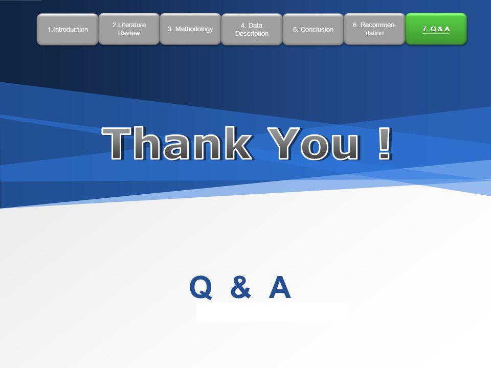 LOGO Q & A 1.Introduction 2.Literature Review 2.Literature Review 3. Methodology 4. Data Description 4. Data Description 5. Conclusion 6. Recommen- da