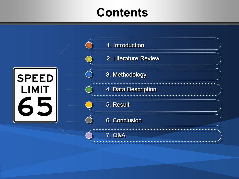 Contents 1. Introduction 2. Literature Review 4. Data Description 3. Methodology 5. Result 7. Q&A 6. Conclusion