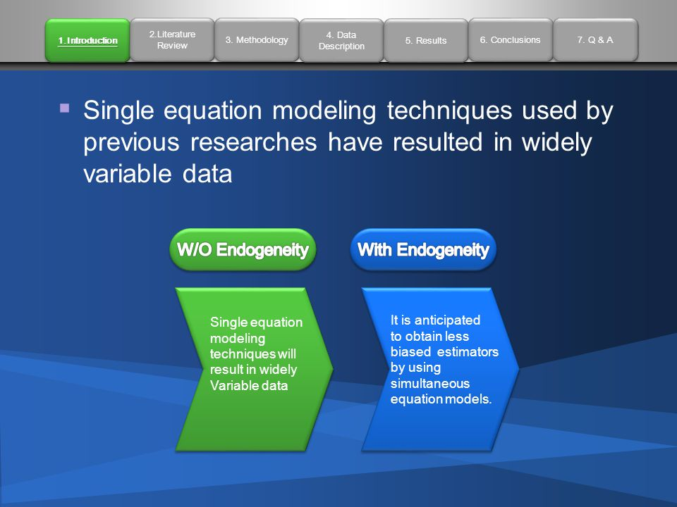  Single equation modeling techniques used by previous researches have resulted in widely variable data Single equation modeling techniques will result in widely Variable data It is anticipated to obtain less biased estimators by using simultaneous equation models.