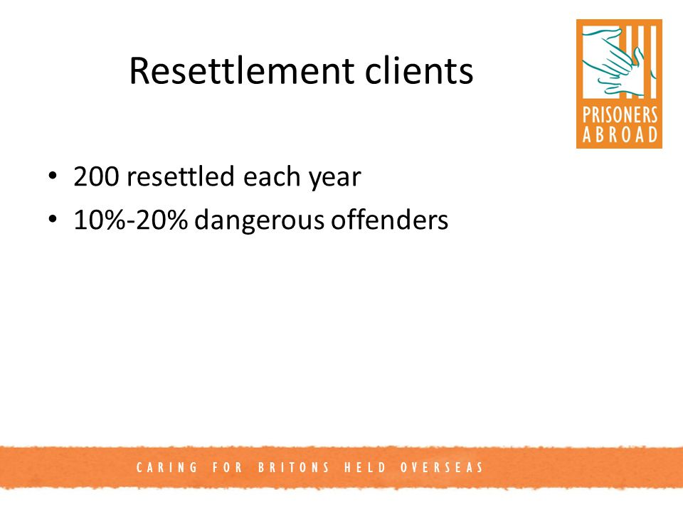 CARING FOR BRITONS HELD OVERSEAS Resettlement clients 200 resettled each year 10%-20% dangerous offenders