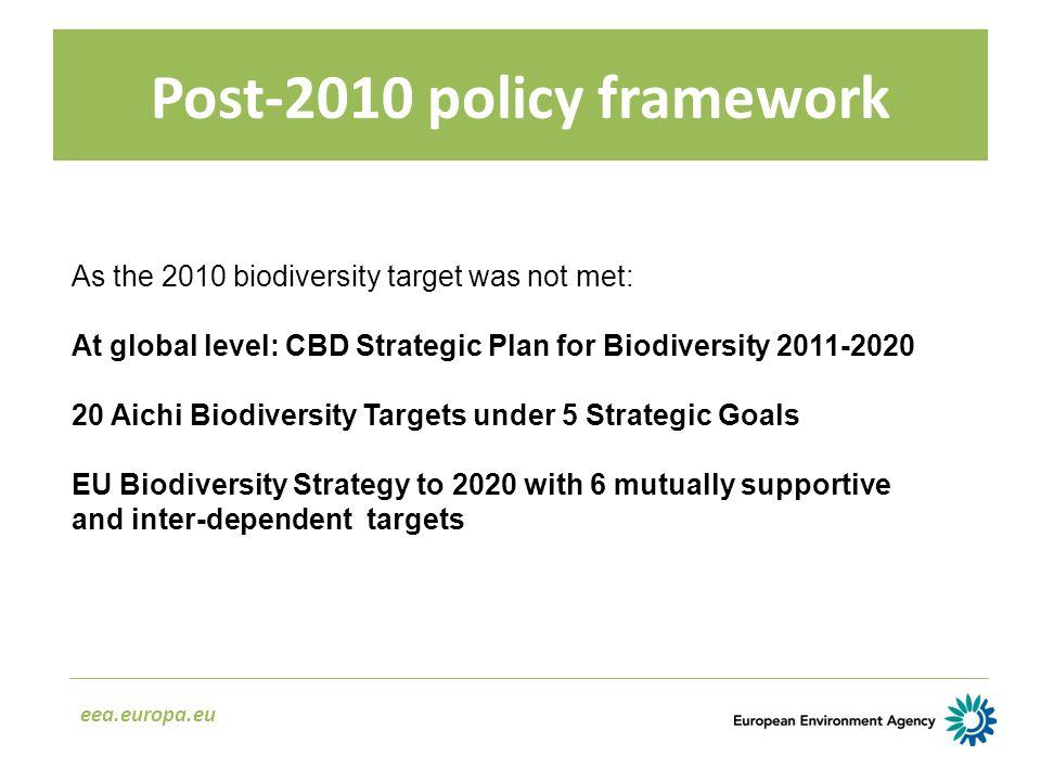 Post-2010 policy framework eea.europa.eu As the 2010 biodiversity target was not met: At global level: CBD Strategic Plan for Biodiversity 2011-2020 2