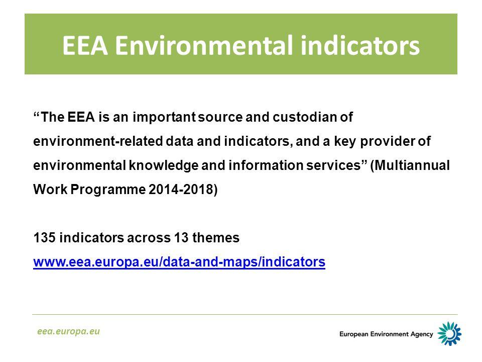 "EEA Environmental indicators eea.europa.eu ""The EEA is an important source and custodian of environment ‑ related data and indicators, and a key provi"