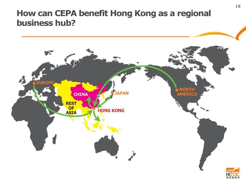 How can CEPA benefit Hong Kong as a regional business hub 18