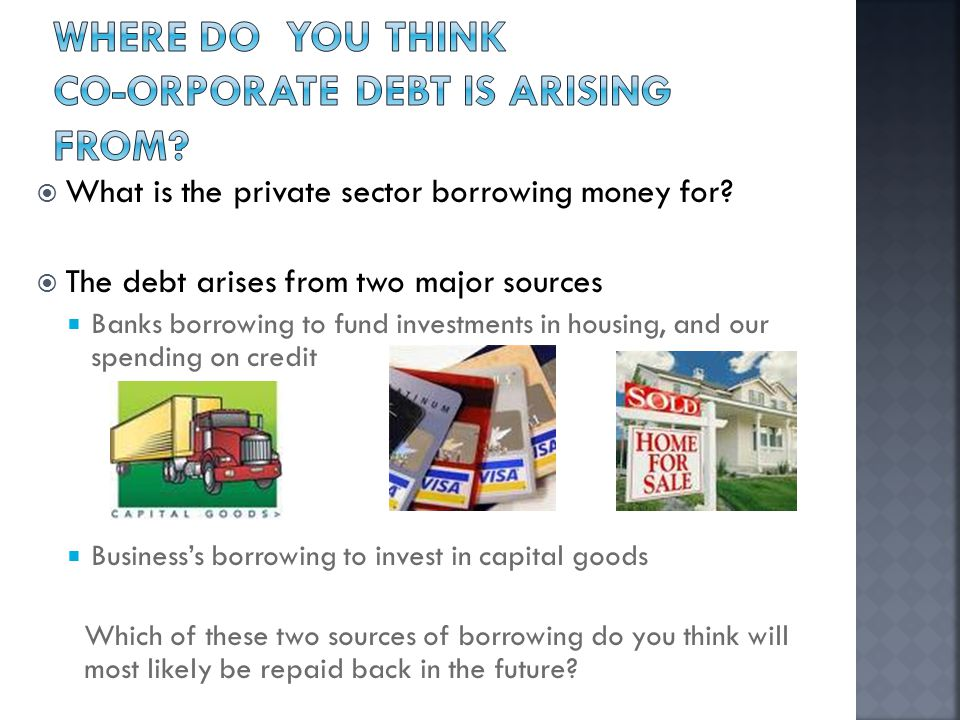  What is the private sector borrowing money for.