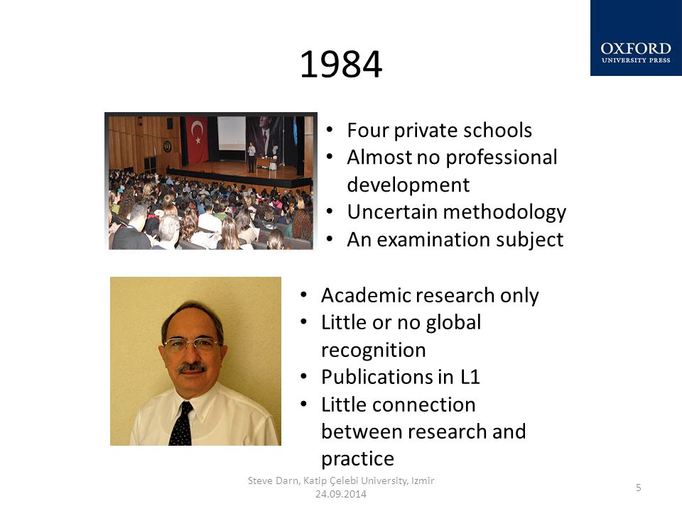 1984 Steve Darn, Katip Çelebi University, Izmir 24.09.2014 5 Four private schools Almost no professional development Uncertain methodology An examination subject Academic research only Little or no global recognition Publications in L1 Little connection between research and practice