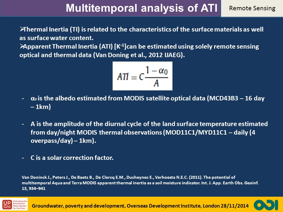 Multitemporal analysis of ATI  Thermal Inertia (TI) is related to the characteristics of the surface materials as well as surface water content.
