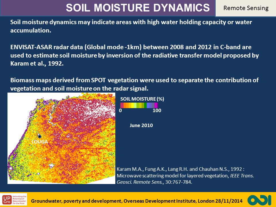 SOIL MOISTURE DYNAMICS Soil moisture dynamics may indicate areas with high water holding capacity or water accumulation.