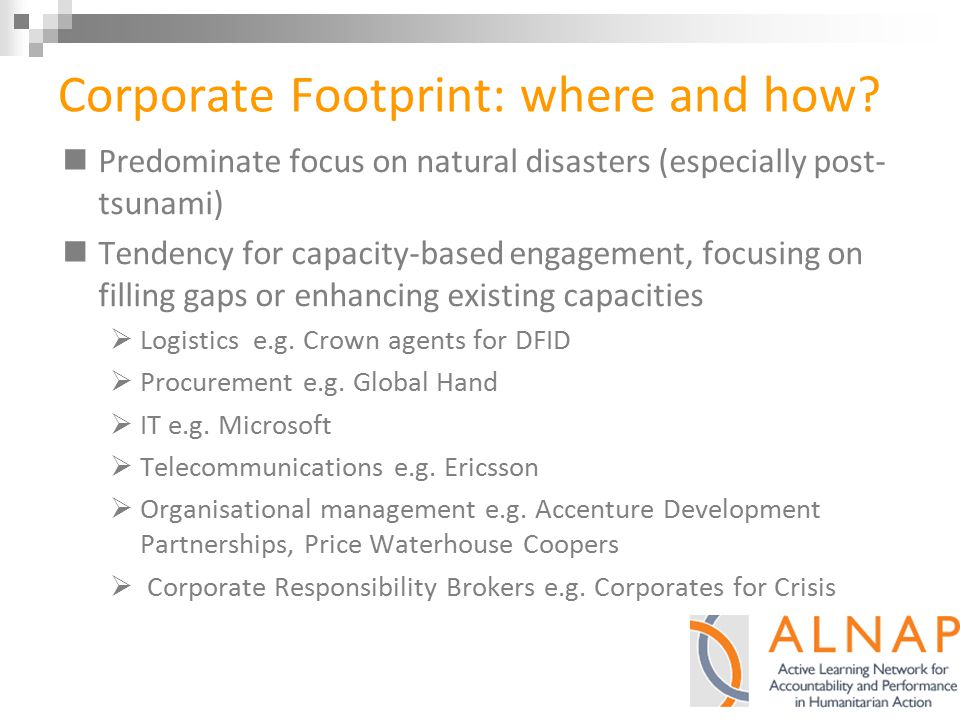 Corporate Footprint: where and how.