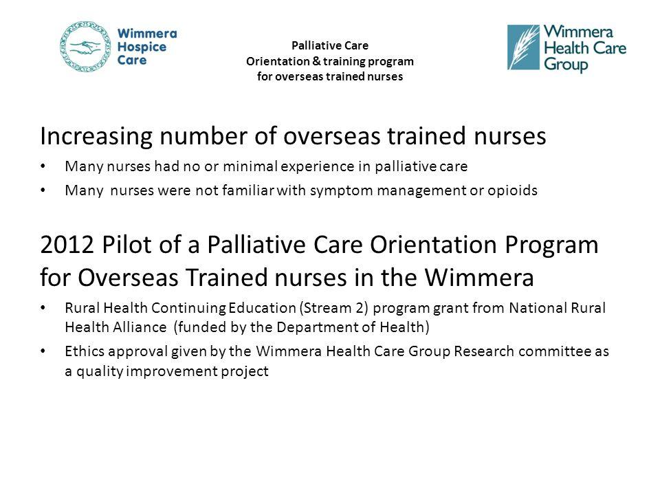 Palliative Care Orientation & training program for overseas trained nurses Literature Review….