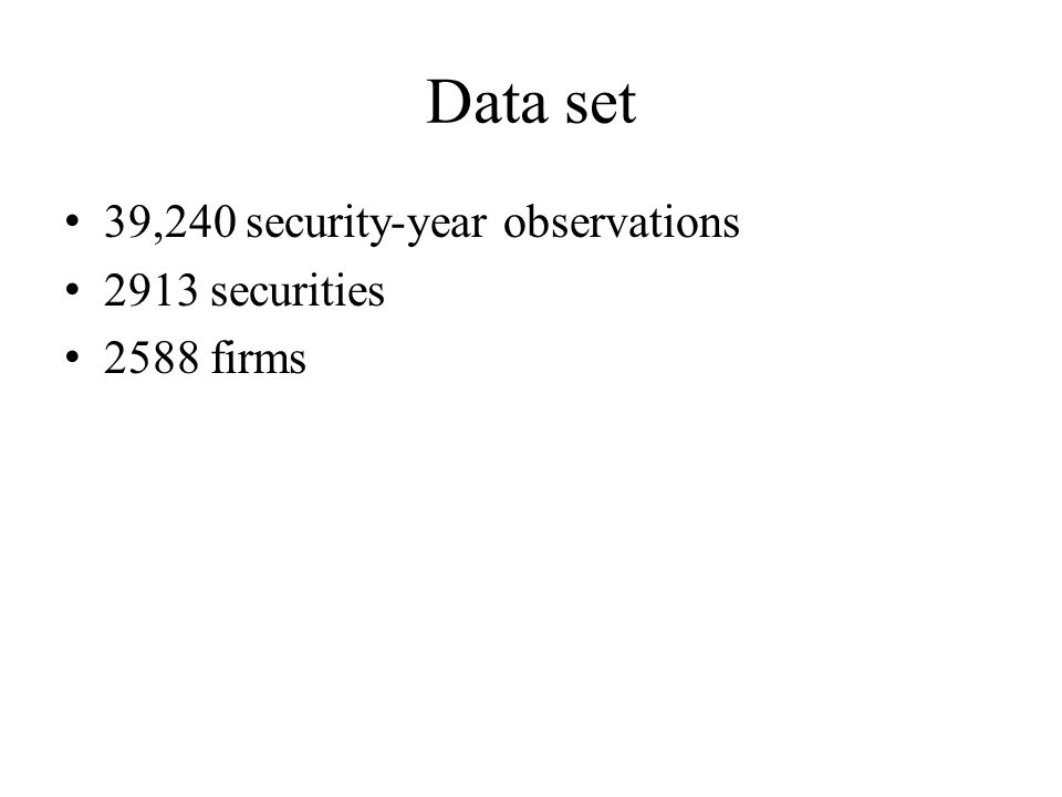 Data set 39,240 security-year observations 2913 securities 2588 firms