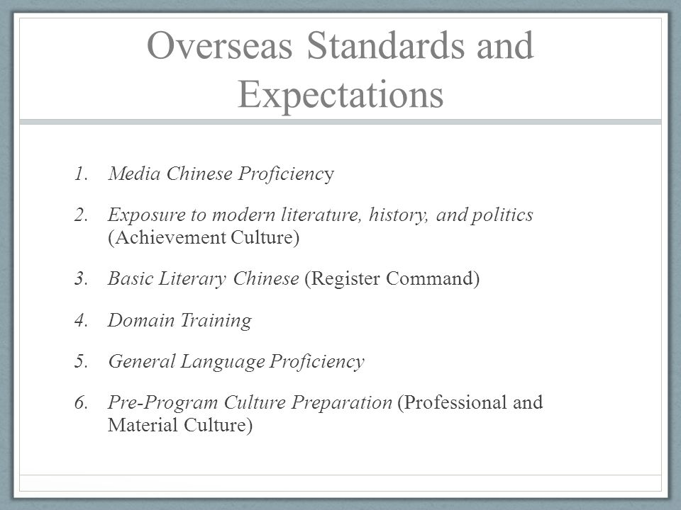Overseas Standards and Expectations 1.Media Chinese Proficiency 2.Exposure to modern literature, history, and politics (Achievement Culture) 3.Basic L
