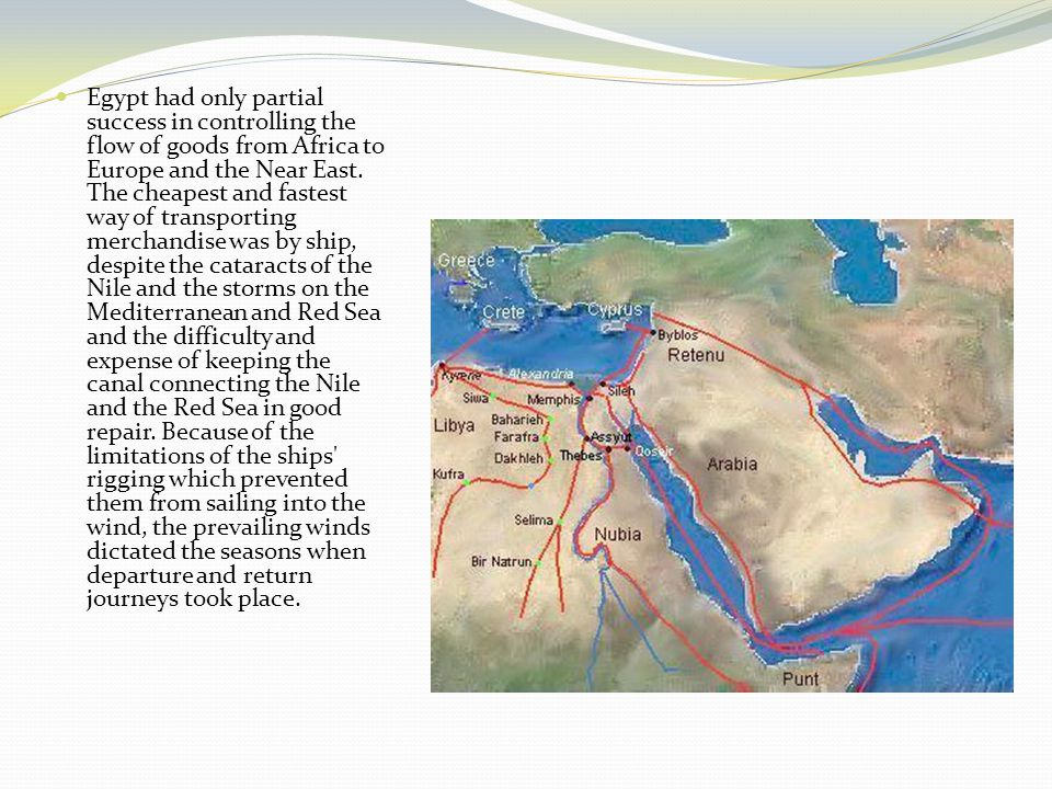 Agricultural produce One of Egypt s main export products was grain, at first to the Lebanese coast, where often not enough corn could be grown locally, and later in large quantities to Rome, more than 100,000 metric tons per year under Augustus.