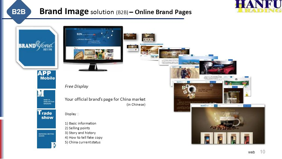 10 Brand Image solution (B2B) – Online Brand Pages B2B Your official brand's page for China market (in Chinese) Display : 1) Basic information 2) Sell