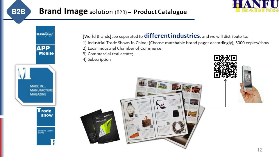 12 Brand Image solution (B2B) – Product Catalogue [World Brands],be separated to different industries, and we will distribute to: 1) Industrial Trade