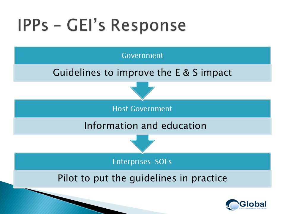 Enterprises-SOEs Pilot to put the guidelines in practice Host Government Information and education Government Guidelines to improve the E & S impact