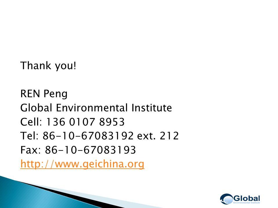 Thank you. REN Peng Global Environmental Institute Cell: 136 0107 8953 Tel: 86-10-67083192 ext.
