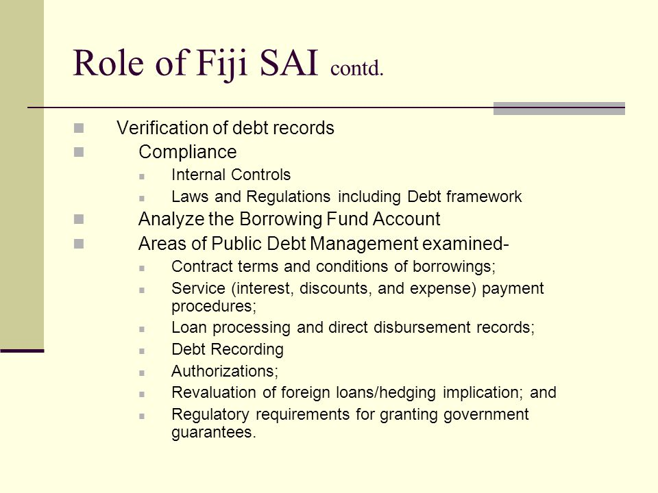 Role of Fiji SAI contd.