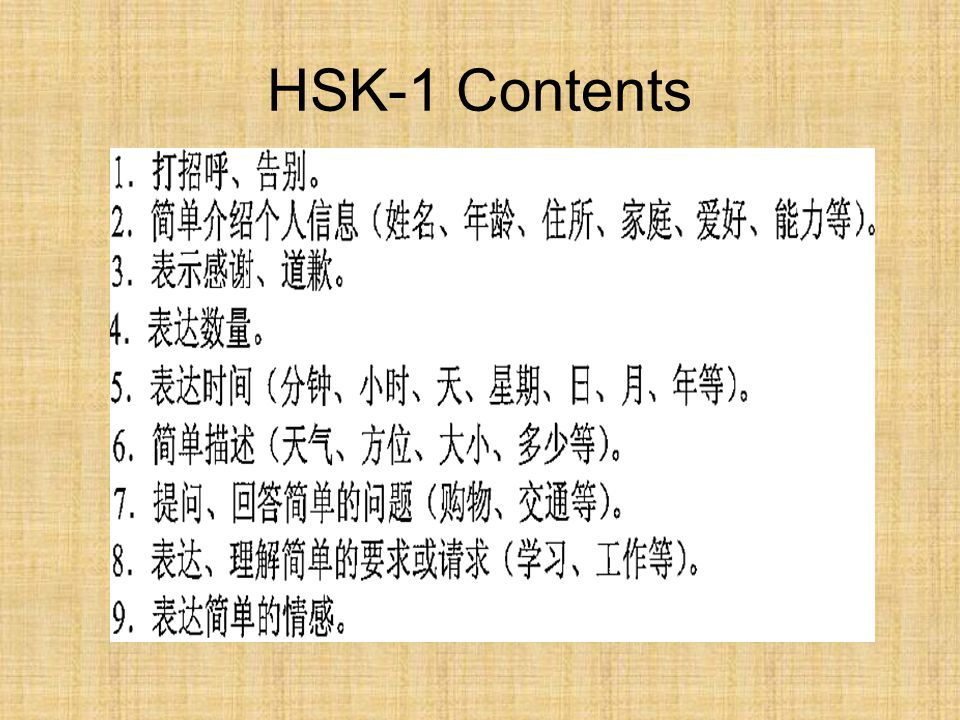 HSK-1 Contents