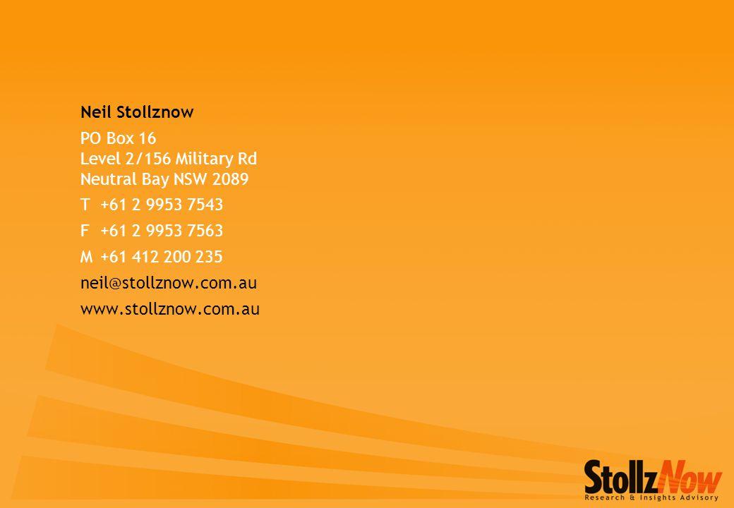 Neil Stollznow PO Box 16 Level 2/156 Military Rd Neutral Bay NSW 2089 T+61 2 9953 7543 F+61 2 9953 7563 M+61 412 200 235 neil@stollznow.com.au www.stollznow.com.au