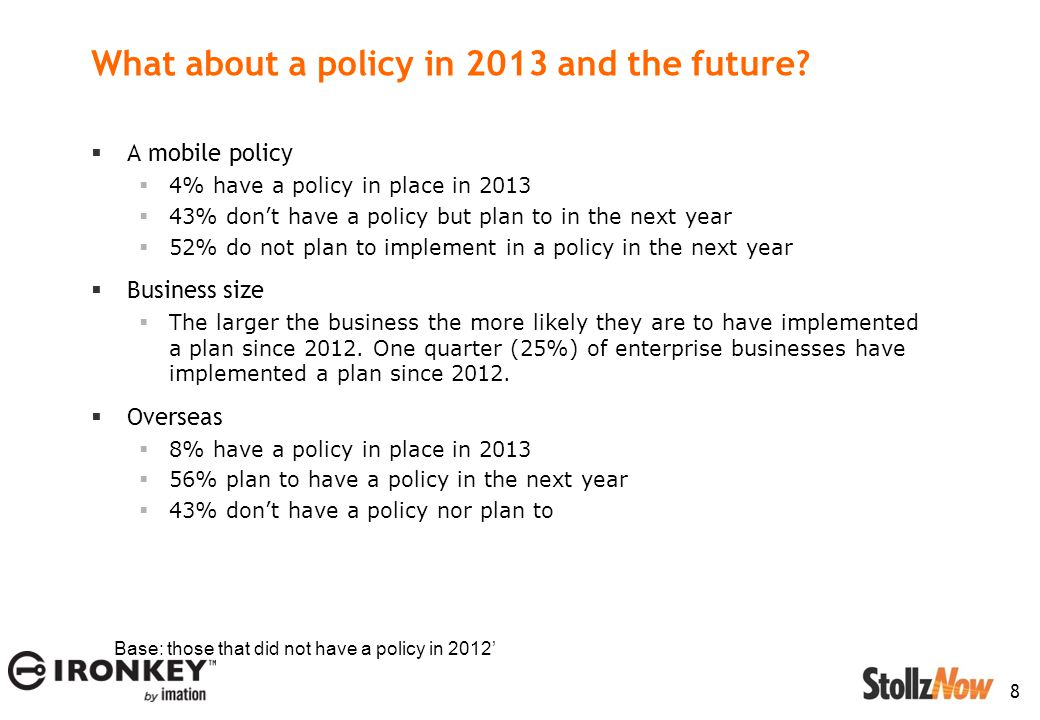 8 What about a policy in 2013 and the future.