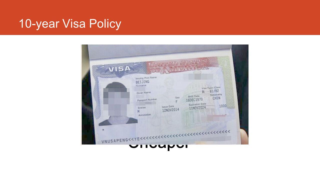 10-year Visa Policy Longer Easier Cheaper 10 年签证带来的效应:美国签证的时间更长了,更容易获得了,也导致申请签证费用成本降低了。这些必然会带来更多游客, 这些游客包括初次来美国的客人(虽然签证申请流程没有变,但是 10 年长期签证会导致大家觉得值得付出时