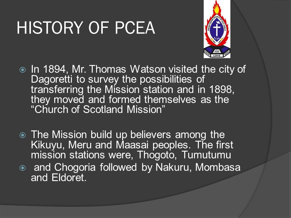 HISTORY OF PCEA  Dr. James Stewart of South Africa, joined the Scottish and British missionaries in Kenya later that year and became the leader of th