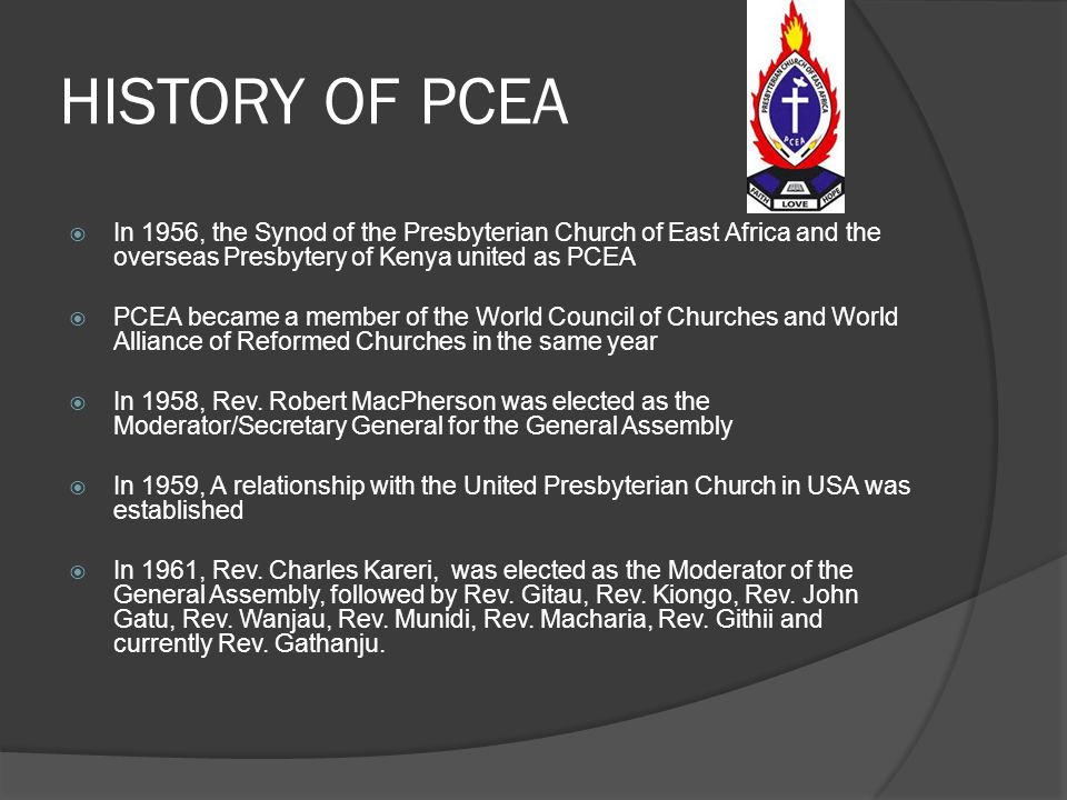 HISTORY OF PCEA  In 1926, the ordination of the First African Pastors ( Rev. Musa Gitau, Rev. Benjamin Githieya, Rev. Joshua Matenjwa) happened at Ki